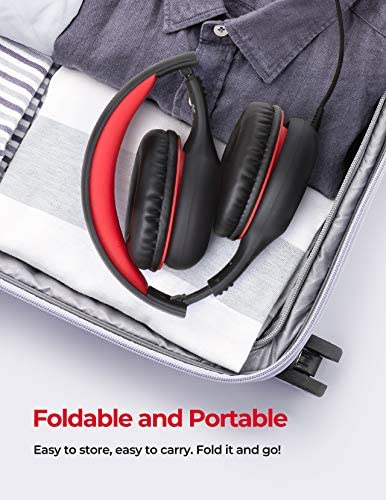 Mpow CH6 Pro Kids Headphones Over Ear with Microphone and Volume Limited 94dB, Wired Headphones for Teens Girls Boys, HD Stereo Headset with Sharing Function, Foldable Headset for School PC Cellphone