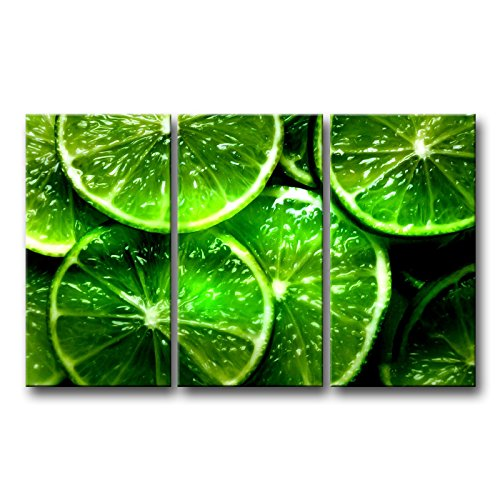 So Crazy Art 3 Piece Green Wall Art Painting Lime Citrus Green Prints On Canvas The Picture Food Pictures Oil For Home Modern Decoration Print Decor by So Crazy Art