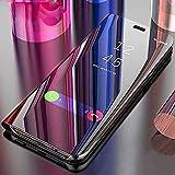 ANVIKA Luxury Flip Case Translucent Clear Semi S-View Mirror Screen Kickstand Full Body Protective Mirror Flip for Vivo V17 Pro (Artificial Black)