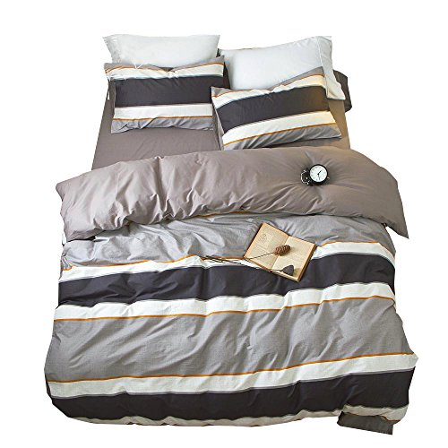 Best Price OTOB Striped Boys Queen Duvet Cover Sets Multi Color 3 Piece Bedding Set Full Size for Teens Man with 2 Pillow Shams Zipper Closure and 4 Corner Ties, Queen/Full