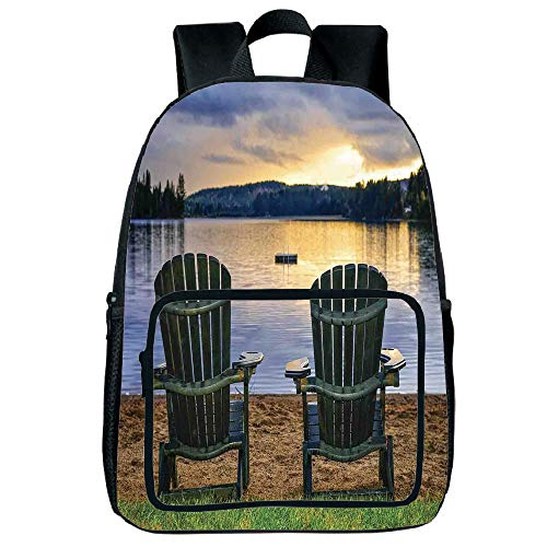 (Light Weight Loss Square Front Bag Backpack,Seaside Decor,Two Wooden Chairs on Relaxing Lakeside at Sunset Algonquin Provincial Park Canada,Navy Green,for Children,Print Design.15.7