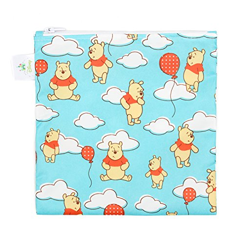 Bumkins Disney Winnie The Pooh Sandwich Bag / Snack Bag, Reusable, Washable, Food Safe, BPA Free, 7x7