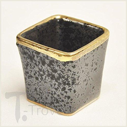 Metallic Black with 24 Karat Gold 5pc Square Sake Set