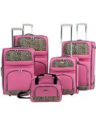 Rockland Luggage 5 Piece Leopard Set, Pink, Large