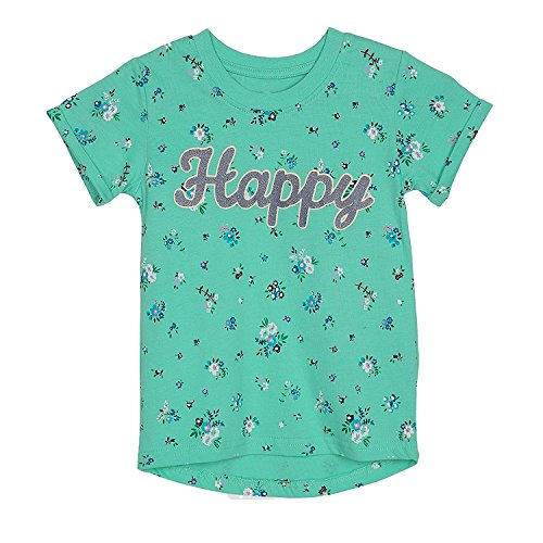 Girls T-Shirts Short Sleeve Cotton Flower Print Crewneck Tee Tops Green 6T