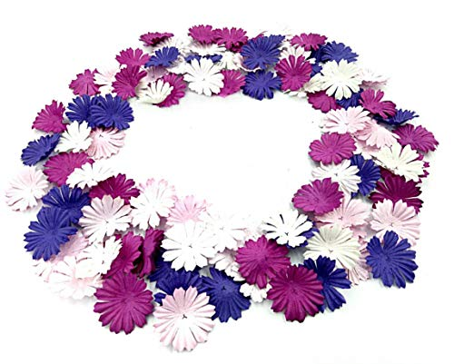 NAVA CHIANGMAI 100 pcs Daisy Mulberry Paper Flower Petals Artificial Craft Scrapbooking Embellishment,Wedding Supply Accessory DIY,Assorted Color Petal Flower (Purple)]()