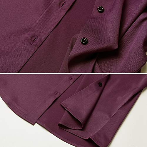147a8cf2c6 FLY HAWK Womens Long Sleeve Button Down Collar Office Formal Casual Shirt  Blouse Wine Red Size