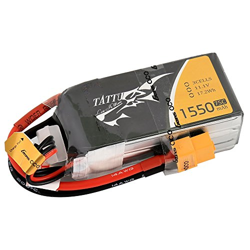 Tattu LiPo Battery Pack 1550mAh 75C 3S 11.1V with XT60 Plug