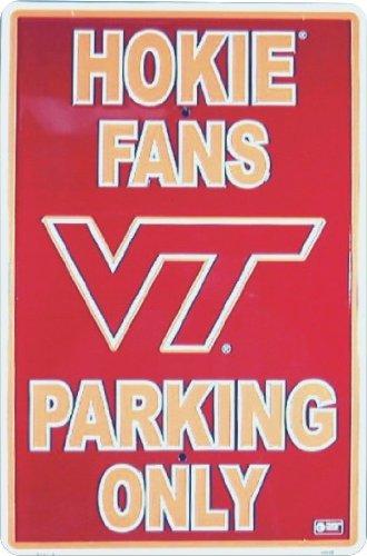 (VIRIGINIA TECH HOKIES Metal Parking Sign 12 x 18 embossed)