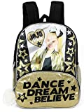 JoJo Siwa 16'' Gold Glitter & Black Backpack With Pom Zipper, 2 Front Compartments And 2 Side Mesh Pockets