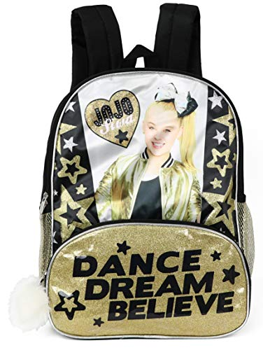 JoJo Siwa 16'' Gold Glitter & Black Backpack With Pom Zipper, 2 Front Compartments And 2 Side Mesh Pockets by Nickelodeon