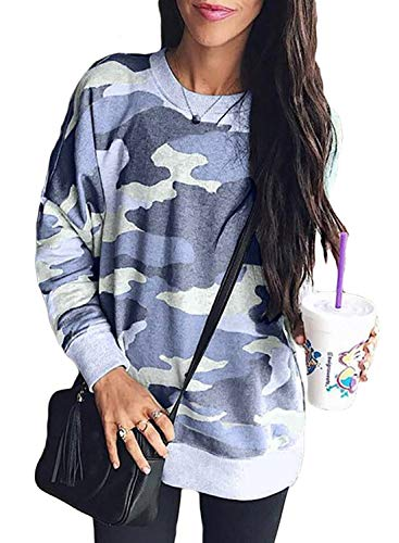 Sidefeel Women Long Sleeve Crewneck Pullover Camo Print Sweatshirt Jumper Top X-Large Blue