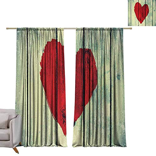 berrly Room Darkening Wide Curtains Love,Heart Symbol Painted on Rustic Wood Wall Romance Affection Valentines Themed Print,Red Pale Green, W96 x L84 Window Curtain Fabric