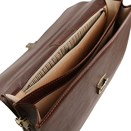 81413504 - TUSCANY LEATHER: PARMA (N) Cartable Porte ordinateur en cuir avec 2 compartiments, marron foncé