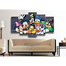 [LARGE] Premium Quality Canvas Printed Wall Art Poster 5 Pieces / 5 Pannel Wall Decor Cartoon Character Painting, Home Decor Pictures - With Wooden Frame