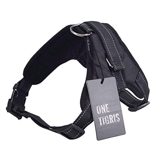 OneTigris Hundegeschirr Hundetrainings Weste mit 2 verstellbaren Trägern (Schwarz, M)
