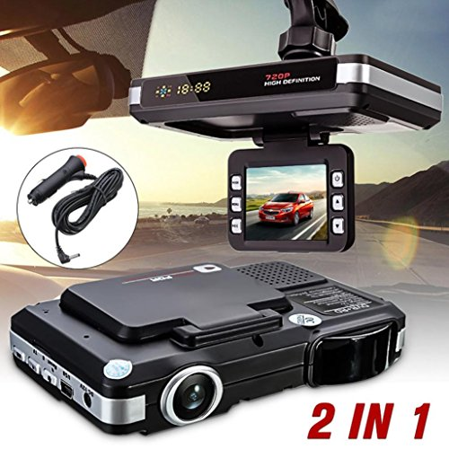 - Gotd 2 in 1 MFP 5MP Car DVR Recorder + Radar Laser Speed Detector Trafic Alert (Black)
