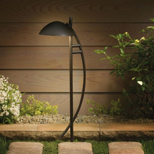 Kichler Lighting 15411AZT Contemporary Arch 1-Light 12-Volt Path & Spread Light, Textured Architectural Bronze Textured Architectural Bronze Path Light