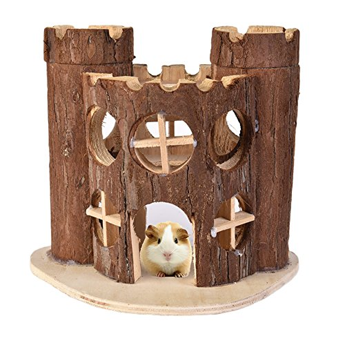 Wooden Hamster House Hiding Castle Toy for Exercising Climbing Chewing for Small Animals Mice Smaller Gerbil
