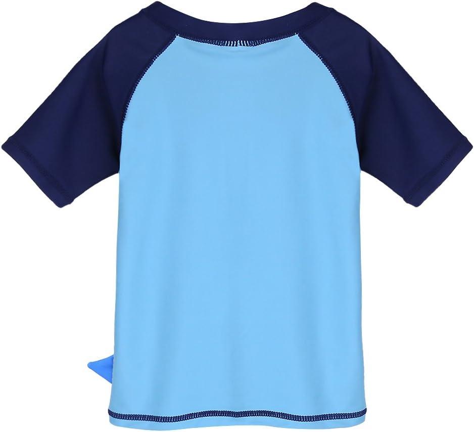 HUANQIUE 2 Pezzi per 6 Mesi e 6 Anni Costume da Bagno da Ragazzo a Maniche Corte Protezione Solare UPF 50+