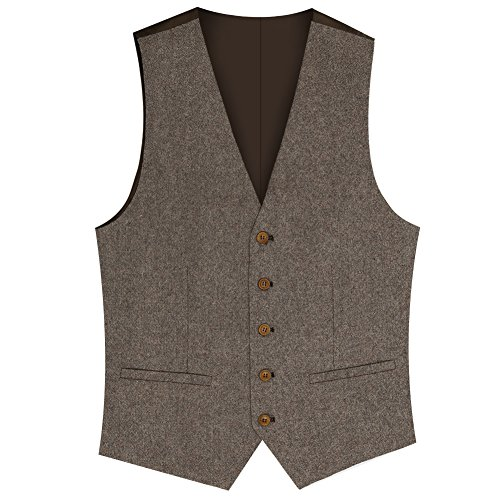 Zicac Men's Unique Advanced Custom Tweed Vest Skinny Wedding Dress Vest (XXL, Tweed ()