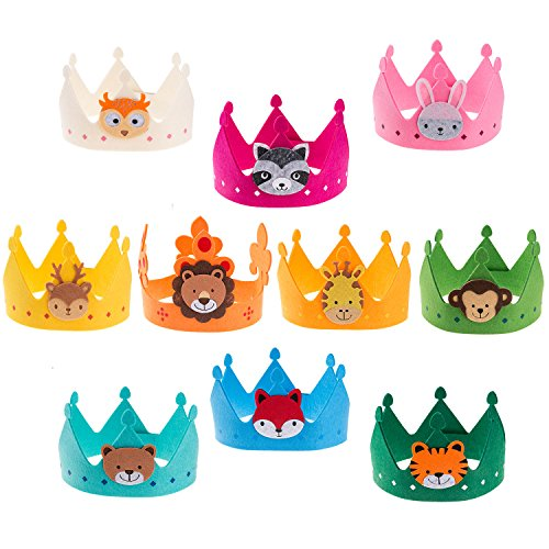 Ava & Kings 10pc Children's Felt Party Crowns Birthday Crown- Comfortable Easy Velcro Design - Variety Pack Rainbow Animal Theme for Kids Parties Boys Girls Unisex Hats Goody Bags Favors & Gifts