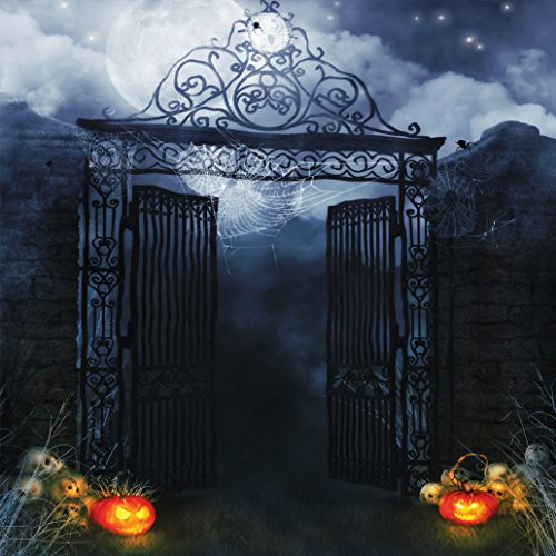 SJOLOON 10x10ft Halloween Door Vinyl Photography Backdrop Customized Photo Background Studio Prop JLT-9335 ()