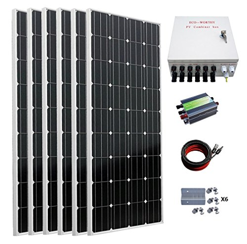 (ECO-WORTHY 1000 Watts Off Grid Solar Panel Kit: 6pcs 160W Mono Solar Panels+45A Solar Charge Controller+MC4 Solar Cable+PV Combiner Box+Solar Panel Mounting Brackets)