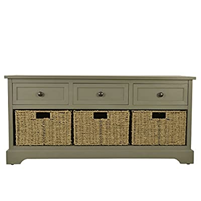 Décor Therapy FR6299 Montgomery Bench, Antique Grey - Antique Gray finish No assembly required 3 Woven Baskets - entryway-furniture-decor, entryway-laundry-room, benches - 51WlLwmfFYL. SS400  -