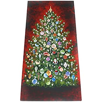 Amazon.com: West of the Wind IN-25002-L LED Indoor Wall Art Happy Christmas Tree Lighted Canvas ...