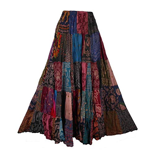 BONYA Women Hippie Boho Tie Dyed Patchwork Elastic Stretch Waist Skirt (Color5)