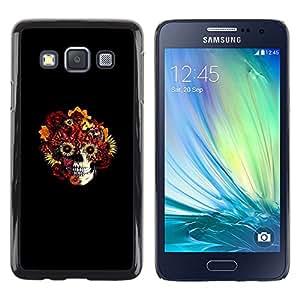 LECELL--Funda protectora / Cubierta / Piel For Samsung Galaxy A3 -- Cráneo floral --