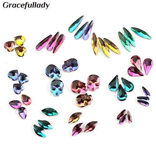 Nail Art Accessories - 20pcs Flame Series Glass Rhinestones Charm 3D Nail Decorations Glue On Nails Rhinestone - Mix 20pcs