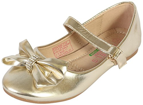 Angels New York Girls Ballerina Shoe with Memory Foam Insole, Gold Metallic, 2 M US Little Kid\''