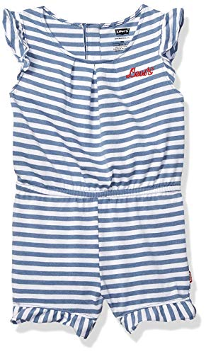 Levi's Baby Girls Romper, Navy Heather/White 6/9M ()