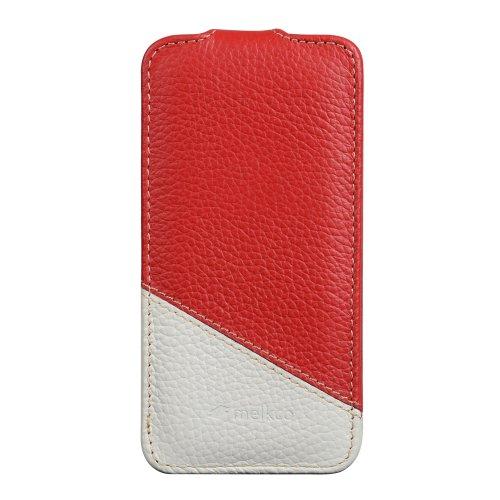 Melkco APIPONLCJT4RDWELC Mix and Match Jacka Type Premium Leder Case für Apple iPhone 5C rot/weiß