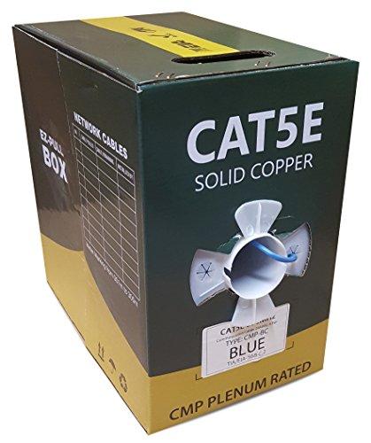 (CAT5E PLENUM UTP SOLID COPPER 1000FT 350MHZ BULK 24AWG CMP NETWORK LAN CABLE BLUE)