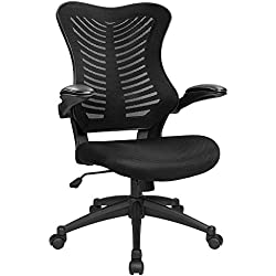 Furmax Mid Back Office Chair Mesh Desk Computer Chair with Flip-Arms Swivel Task Chair with Ergonomic Headrest and Lumbar Support(Black)