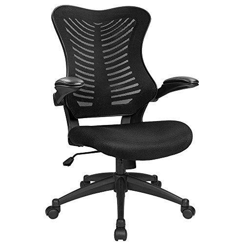 Furmax Mid Back Office Chair Mesh Desk Computer Chair with Flip Arms Swivel Task Chair with Ergonomic Headrest and Lumbar Support Black