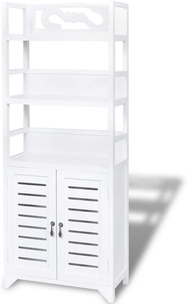 Anself Free Standing Bathroom Cabinet Wooden Tall Cupboard White 46x24x117.5 cm White