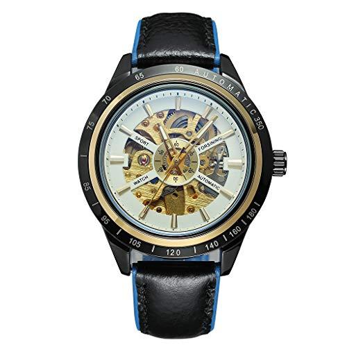 (Cindero Shop Motorcycle Design Transparent Red Black Belt Waterproof Men's Automatic Watch)