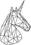 Vinyl Wall Art Decals - Unicorn Head - 34'' x 23'' - Beautiful Geometric Home Work Place Stencil Adhesives - Decal for Office Living Room Bedroom Dorm Room Decor (34'' x 23'', Black Outline)