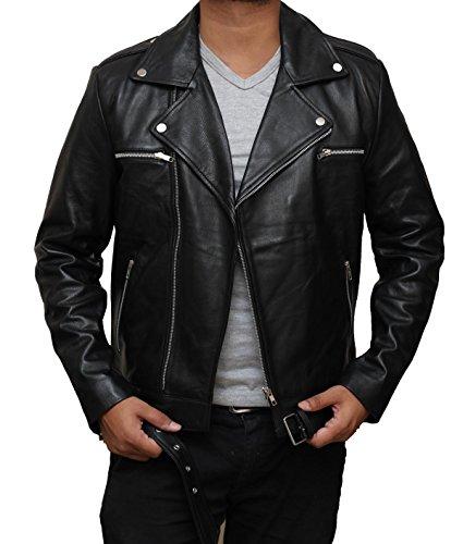 Negan Mens Black Genuine Leather Motorcycle Jacket | M