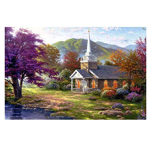 Full Drill 5D Diamond Painting Crafts Stitch Home Wall Decor DIY with Tools Xmas (3# Landscape Cot 35 x 25 cm)