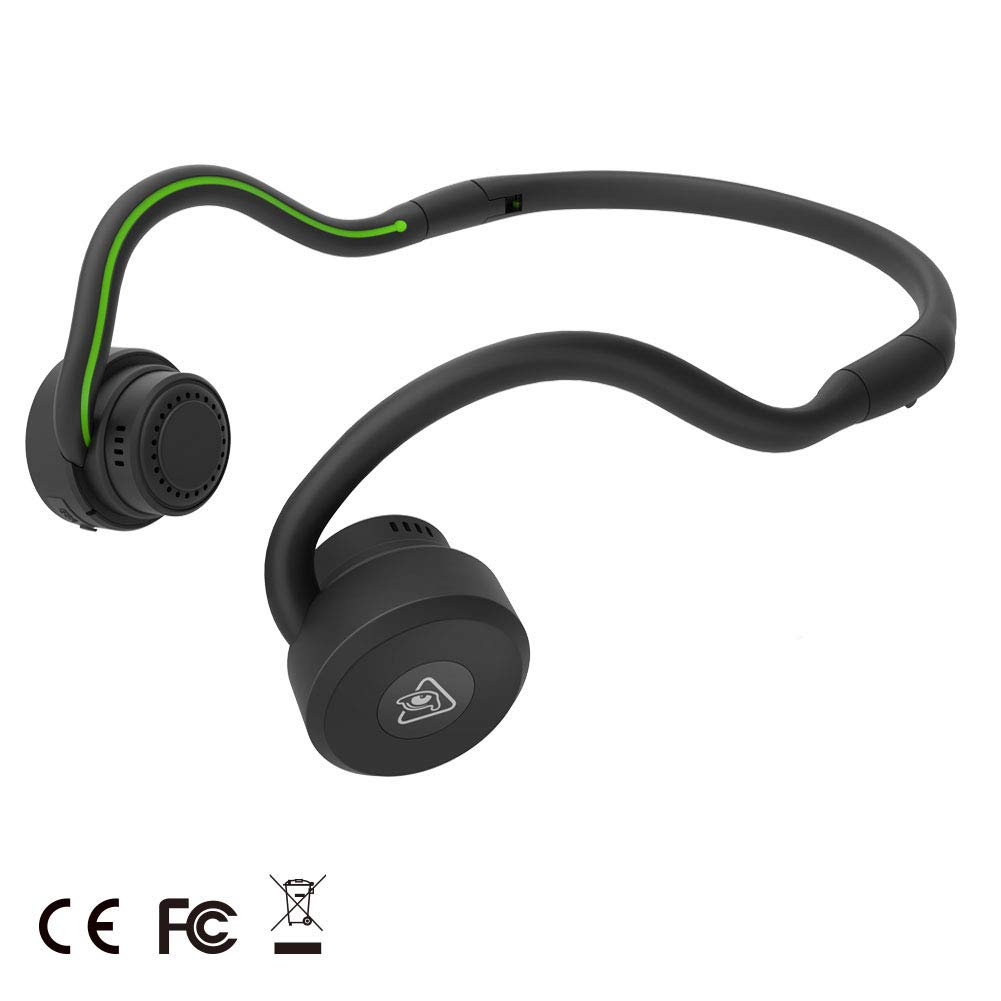 Bone Conduction Bluetooth Headphones Open Ear Wireless Headphones Bluetooth 4.1 Headphones with Built in Mic Sweatproof Sports Earphones Secure Fit for Running Workout Exercise