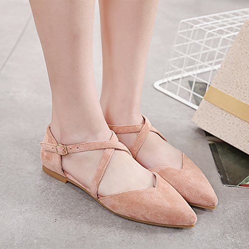 Meeshine Femmes Dorsay Ballet Plat Bout Pointu Cheville Sangles Boucle Ballerine Appartements Chaussures Rose 01