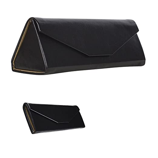 9699a857a8c Luxury Glasses Case - Eyeglass Holder With Glossy Leather Style Finish - Magnet  Closure - For