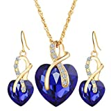 WYTong 2018 Fashion Jewelry Sets for Women Crystal Heart Pendant Necklace+Earrings (Blue)