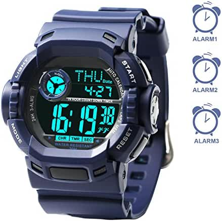 Multiple 3 Alarms Reminder, Swimming Sports Digital Watches Boys Kids Teens (Wrist Size 5