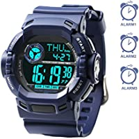 """Multiple 3 Alarms Reminder, Swimming Sports Digital Watches Boys Kids Teens (Wrist Size 5"""" - 8"""", for Age 7+)"""